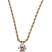 Sparkling Diamond Solitaire (0.40 carats) 14K Yellow Gold Necklace