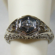Art Deco Diamond (0.42 TCW) 18K White Gold Engagement Ring