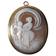 Victorian 10k Yellow Gold Goddess and Cherub Shell Cameo Pin/Pendant.