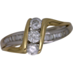 14k Two Tone Fancy Diamond Ring