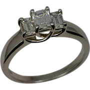 Platinum Emerald Cut Diamond Past,Present, Future Ring