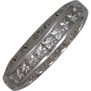 Fancy 14k White Gold Diamond Wedding Ring