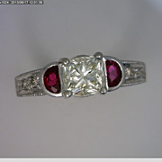 Platinum Radiant Cut Diamond and Ruby Engagement Ring