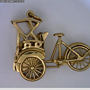 18k Yellow Gold Rickshaw or Cyclo Charm