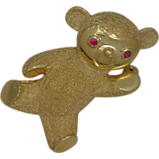 SALE 14K Yellow Gold Teddy Bear Pin