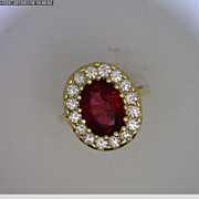 SALE 14k Yellow Gold Rubelite and Diamond Ring
