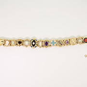 10K Yellow Gold Slide Bracelet with Multi-color Gemstones