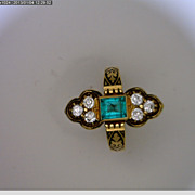 18K Yellow Gold Emerald and Diamond Victorian Ring