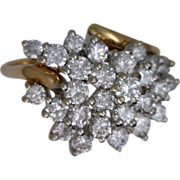 14k Two Tone Offset Diamond Cluster Ring From the 1970's