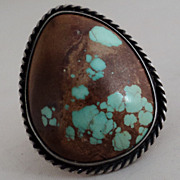 SALE Southwest Style Sterling Silver Boulder Stabilized Turquoise Ring Size 6