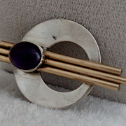 Sterling Silver Gold Filled Modernist Brooch