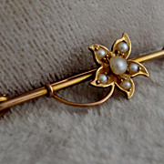Victorian 14K Yellow Rose Gold Seed Pearl Flower Pin Brooch