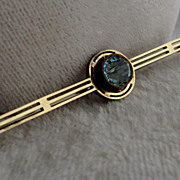 Victorian 9K Yellow Gold Blue Zircon Brooch Pin Dated 1871