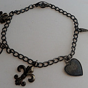 Victorian Sterling Silver Starter Charm Bracelet