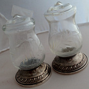 Quaker Hurricane Sterling Crystal Salt & Pepper Shakers