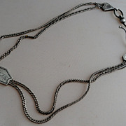 Victorian Sterling Silver Albertina Slide Watch Chain 13""
