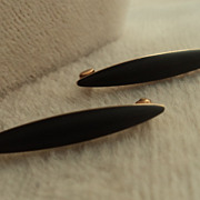 Pair Victorian 14K Gold Black Jet Lingerie/Scatter Pins Mourning Jewelry