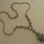 SALE Ornate Art Nouveau Sterling Silver Rhinestone Necklace
