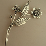 Vintage Coro Sterling Silver Large Flower Brooch Pin c1960