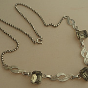 Vintage Van Del Sterling Rhinestone Necklace