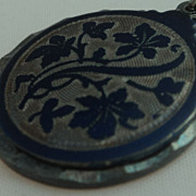 Sterling Silver Blue Enamel Religious Slide Pendant Medal