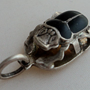 Sterling Silver Inlaid Onyx Egyptian Beetle Pendant Charm