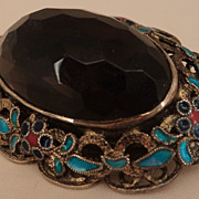 SALE Chinese Export Gilt Silver Enamel Smoky Glass Brooch