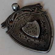SOLD c1896 Victorian Sterling Silver Large Shield Pendant