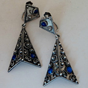 SALE Vintage Etruscan Revival 800 Silver Lapis Italy Screw Earrings 2&quot;