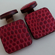 SALE Vintage Hand Tooled Red All Leather Cufflinks
