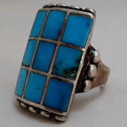 SALE Sterling Silver Checkerboard Inlay Turquoise Ring Size 8