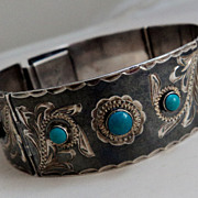 SALE c1940s Mexico Silver Etched Niello Turquoise Panel Bracelet