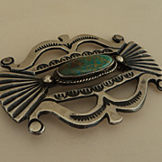 SALE Native American J Morgan Silver Turquoise Brooch Pin