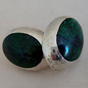 SALE Mexico Sterling Silver Dark Green Cabochon Pierced Earrings