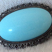 SALE Victorian Silver Large  Blue Glass Cabochon  Pin Brooch