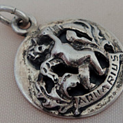 SALE Cini Sterling Silver Aquarius Zodiac Relief Charm