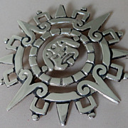 SALE Taxco Mexico Sterling Silver Mayan Calendar Pendant Brooch