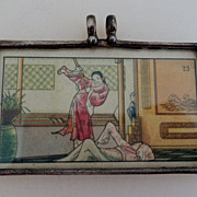 SALE Chinese Silver Framed Polychrome Miniature Pendant
