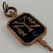 SALE Black Enamel NY New York College Fraternity Fob Key Charm
