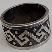 SALE TAXCO Oxidized Sterling Silver Overlay Wide Band Ring