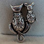 SALE Sterling Silver Jezlaine Openwork Cat & Mouse Pin Brooch