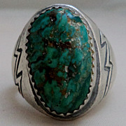 SALE Native American Foster Yazzie Sterling Silver Turquoise Ring