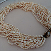 SALE 17 Strand Champagne Cultured Freshwater Rice Krispie Pearl Torsade Necklace