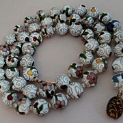 SALE Chinese Export Floral Cloisonne Enamel Bead Necklace