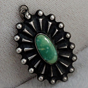 Southwest Sterling Silver Green Turquoise Pendant