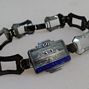 SALE Cunard White Star RMS Queen Elizabeth Silver Souvenir Bracelet RARE