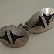 Vintage Southwestern Sterling Silver Overlay Cufflinks