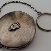 Sterling Silver Phi Beta Pi Fraternity Compact Purse Chatelaine