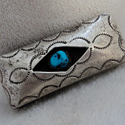 Handcrafted Sterling Silver Stamped Turquoise Money Clip