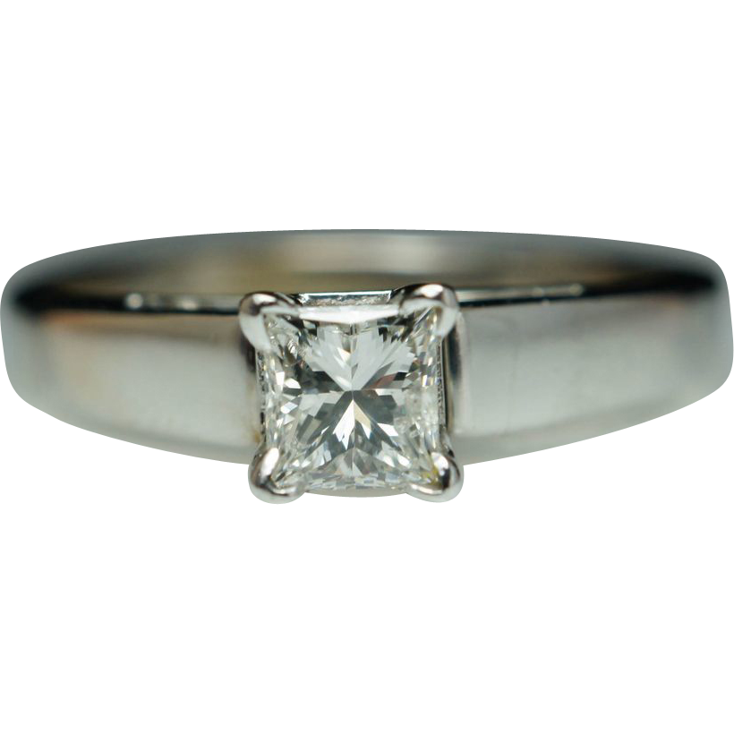 simple solitaire princess cut engagement ring 14k